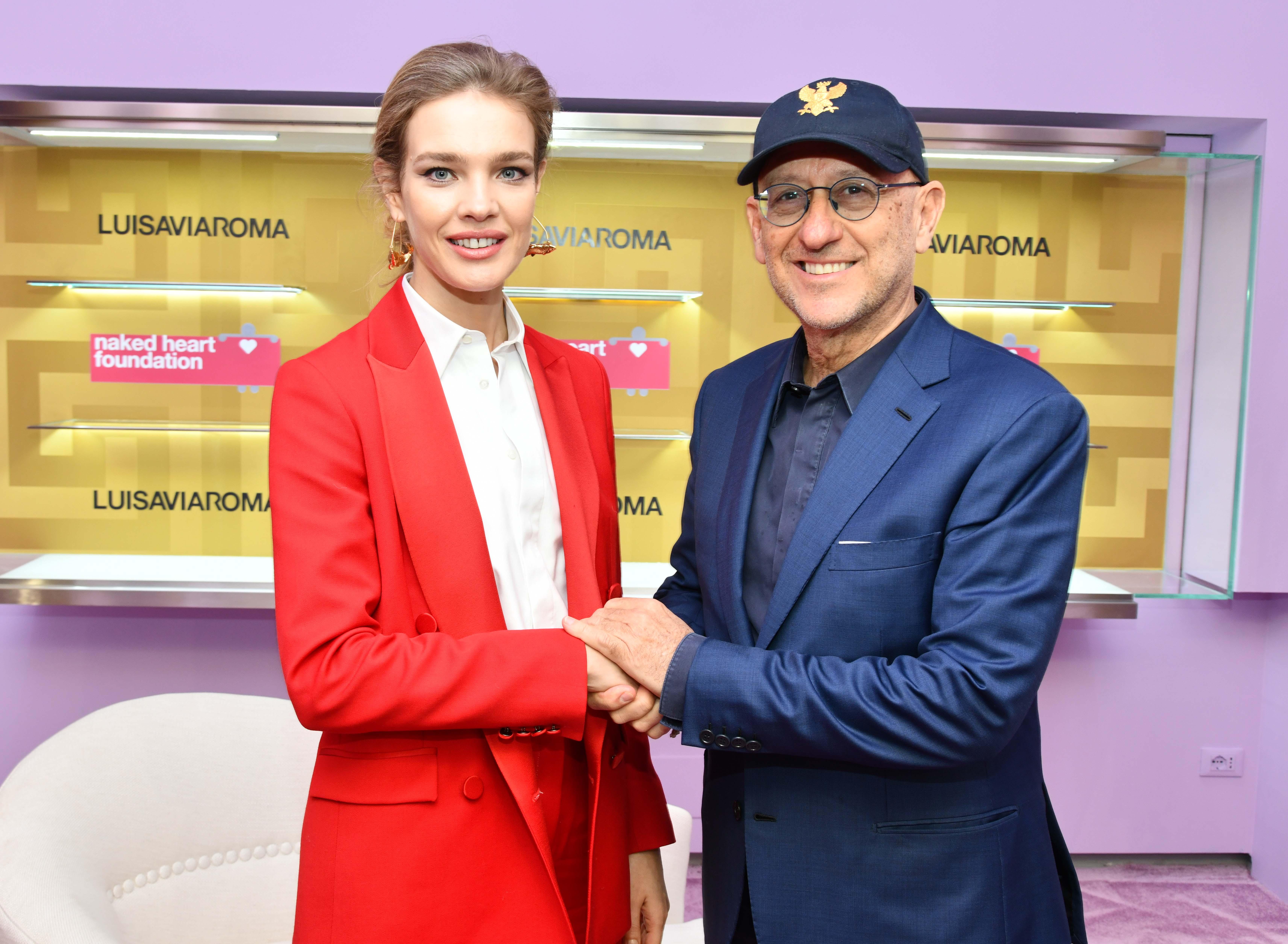 Natalia Vodianova with Andrea Panconesi at the LuisaViaRoma store in Florence.