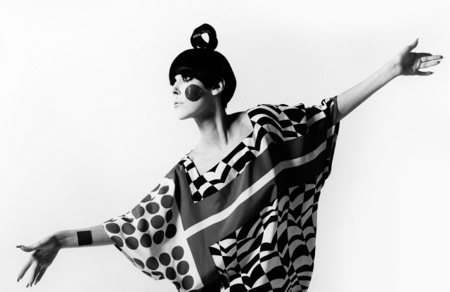 Peggy Moffitt modeling Kite dress designed by Rudi Gernreich, Resort 1967 Collection.