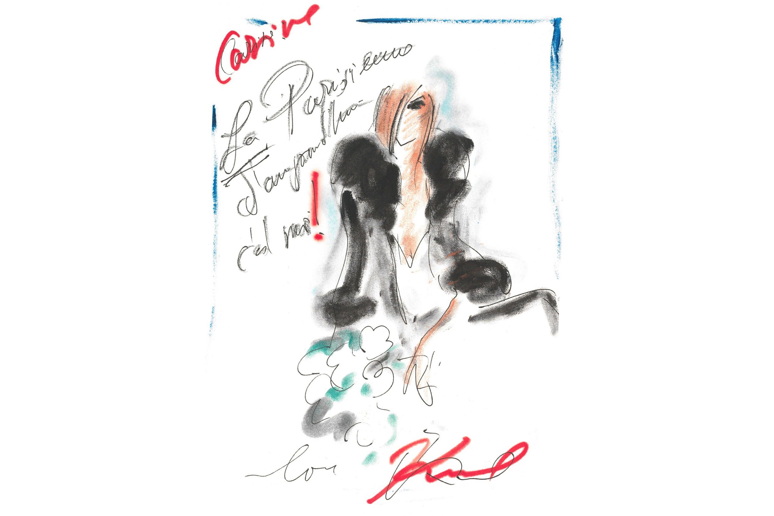 A Karl Lagerfeld sketch of Carine Roitfeld.