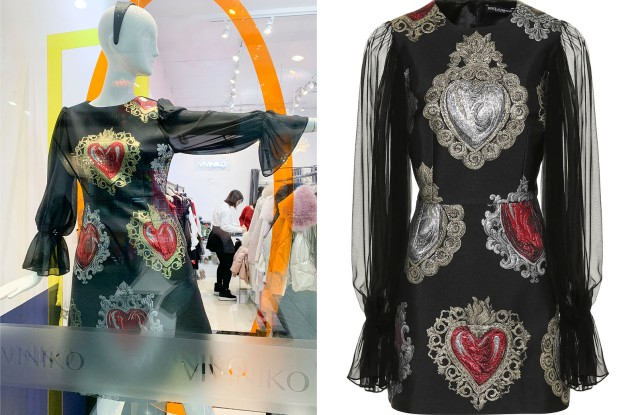 """A """"Dolce & Gabbana"""" dress at a store in Flushing (L), and the real thing, currently on sale for $1,533 at right."""