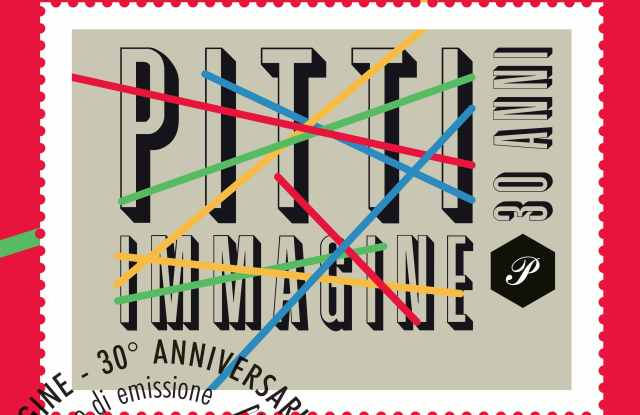 The postage stamp celebrating Pitti Immagine's 30th anniversary.
