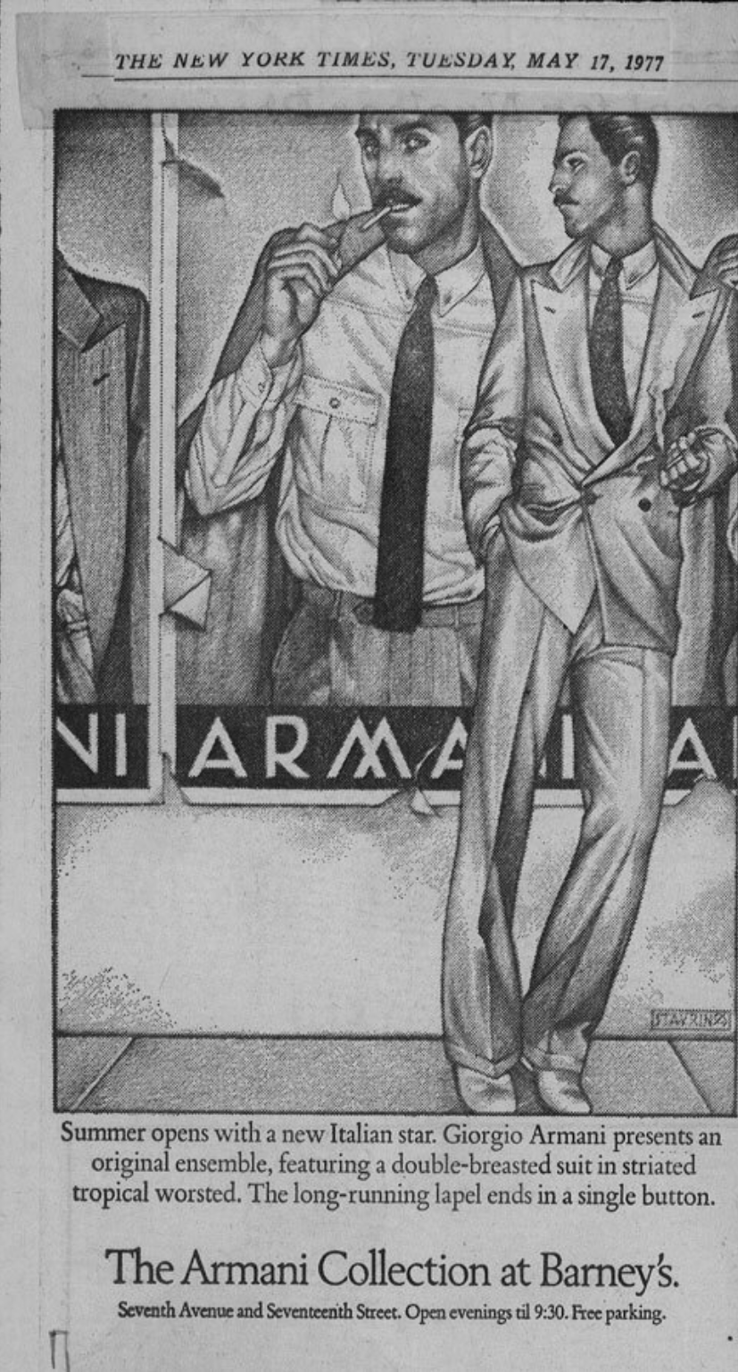 Barneys New York ads for Giorgio Armani in The New York Times, 1977.