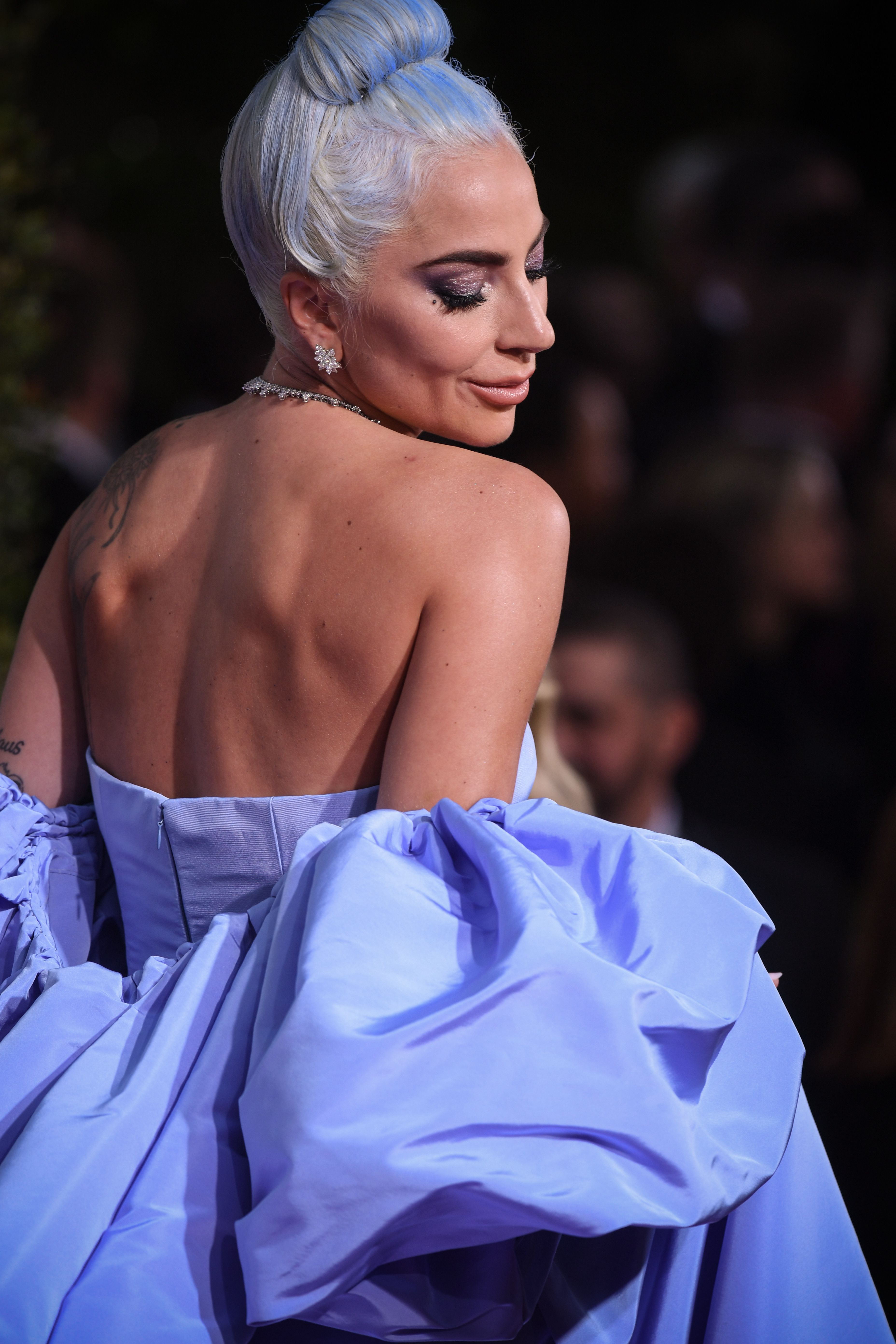 Lady Gaga in Valentino Haute Couture and Tiffany & Co. jewelry
