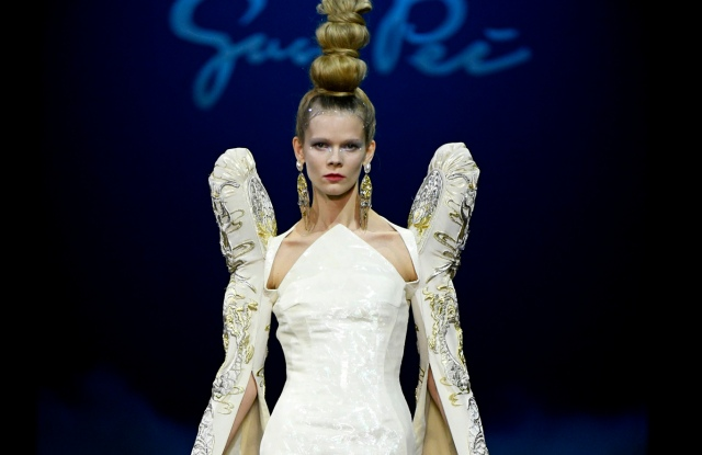 A runway look from Guo Pei's spring 2019 couture collection.