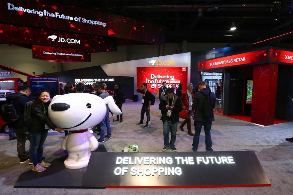 The JD.com area is shown at CES International, in Las VegasGadget Show, Las Vegas, USA - 08 Jan 2019