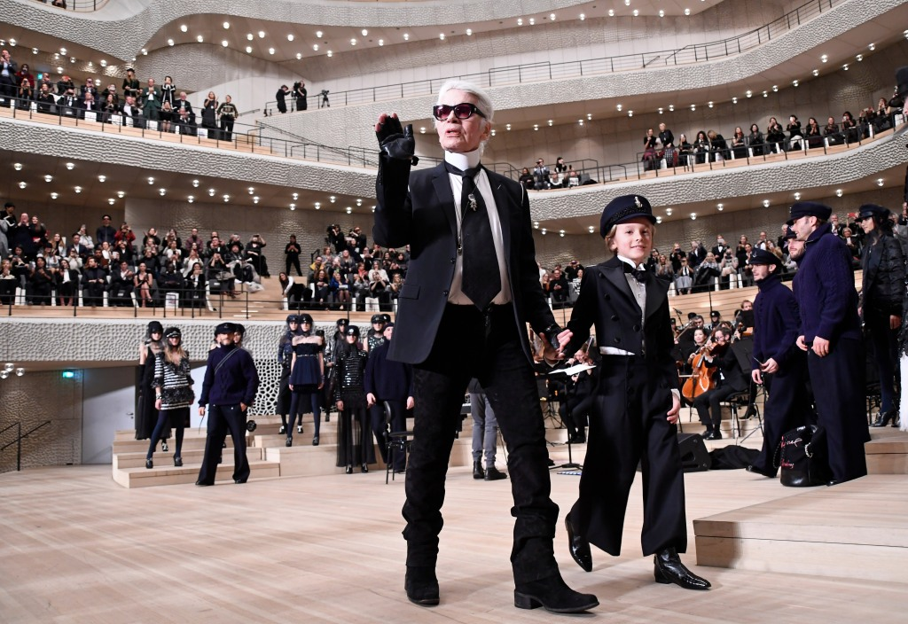 Karl Lagerfeld and Hudson Kroenig on the catwalkChanel Metiers d'Art Collection fashion show, Runway, Elbphilharmonie, Hamburg, Germany - 06 Dec 2017