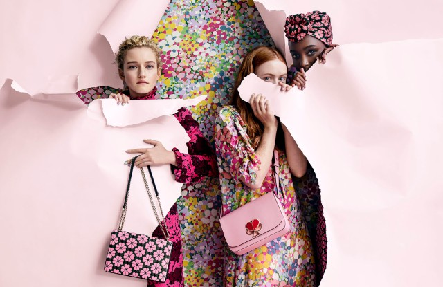 "In support of her first collection for Kate Spade New York, creative director Nicola Glass called upon actresses Julia Garner, Sadie Sink and Kiki Layne to appear in its spring campaign. The campaign was shot by Tim Walker, who previously worked with the brand from 1999 to 2006 under Kate and Andy Spade. The ads were styled by Sara Moonves. ""I've always been drawn to the idea of a spontaneous gathering of girlfriends, and the joyful, spirited celebrations that ensue. The intimate moments of a girl's weekend away is the backdrop for the spring 2019 campaign, bringing to life the optimistically feminine world at the heart of my vision for Kate Spade,"" said Glass. ""I was honored to work with Julia Garner, Sadie Sink and Kiki Layne on our spring 2019 campaign. As a brand, we encourage women to be the heroines of their own story, and these three women are the ultimate embodiment of that idea."" The spring 2019 campaign features print and digital images that were shot on location at the Floating Farmhouse in Eldred, N.Y.—Lisa Lockwood"