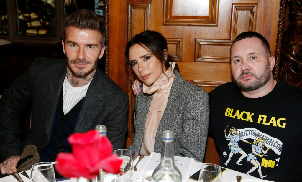 David Beckham, Victoria Beckham and Kim Jones
