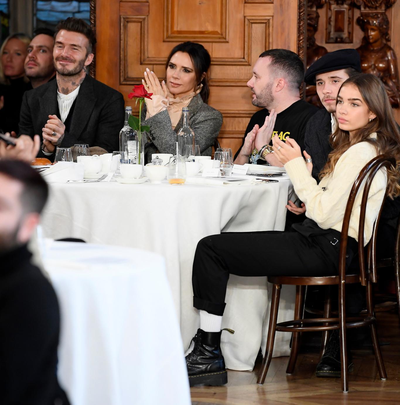 David Beckham, Victoria Beckham, Kim Jones, Brooklyn Beckham and Hana Cross