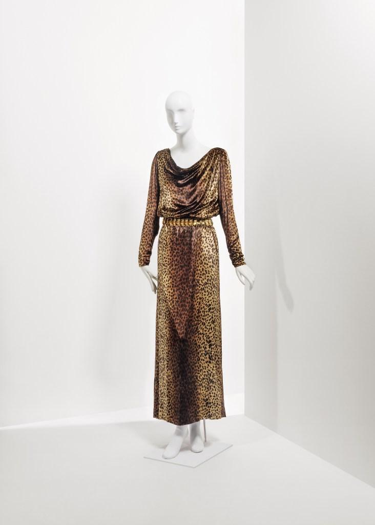 Catherine Deneuve's Yves Saint Laurent wardrobe: A leopard silk velvet dress from fall 1992