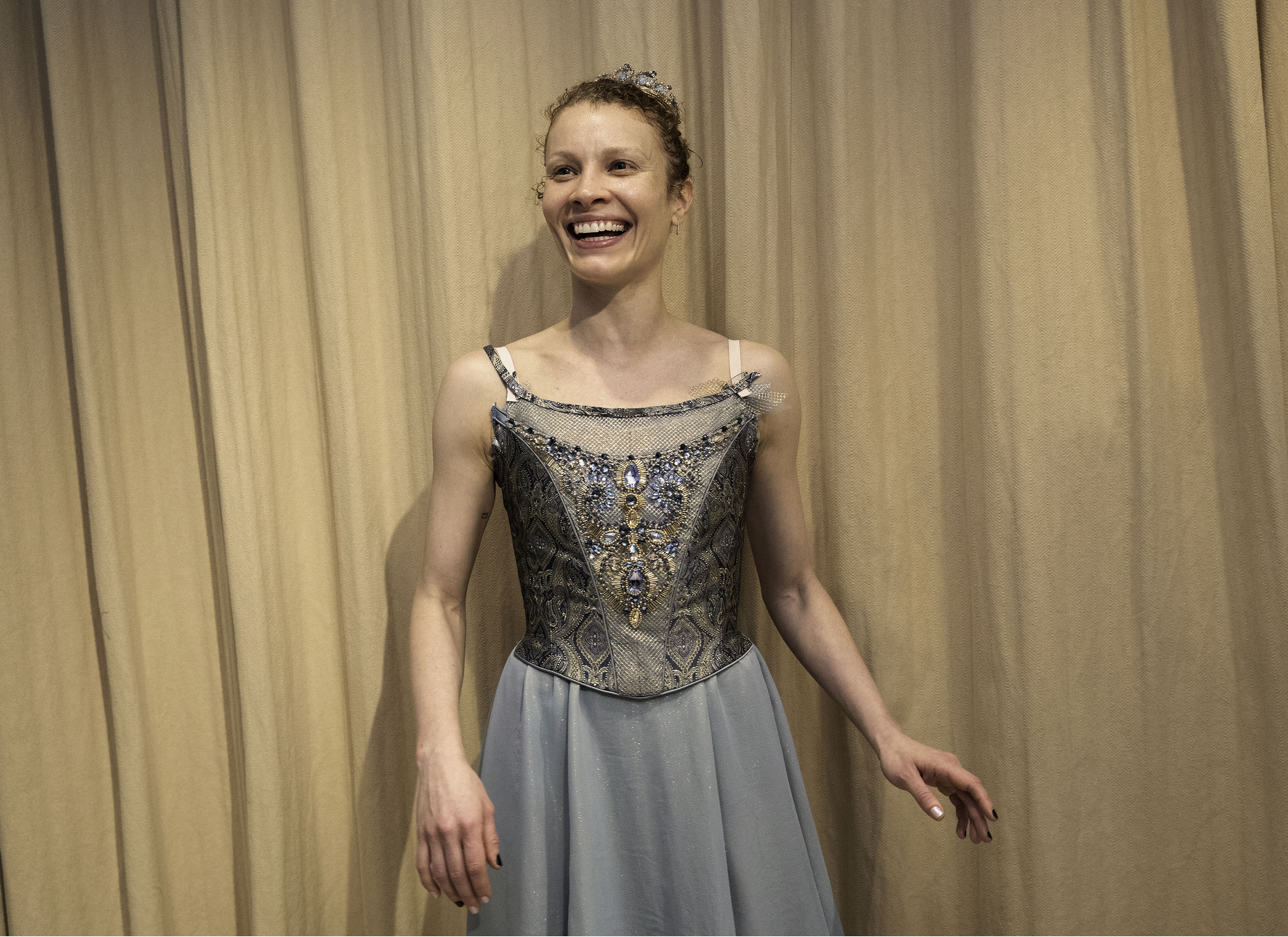 NYCB Soloist Lauren King in a costume fitting for Tschaikovsky Piano Concerto No. 2.