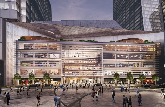 A rendering of the exterior of The Shops & Restaurants at Hudson Yards.