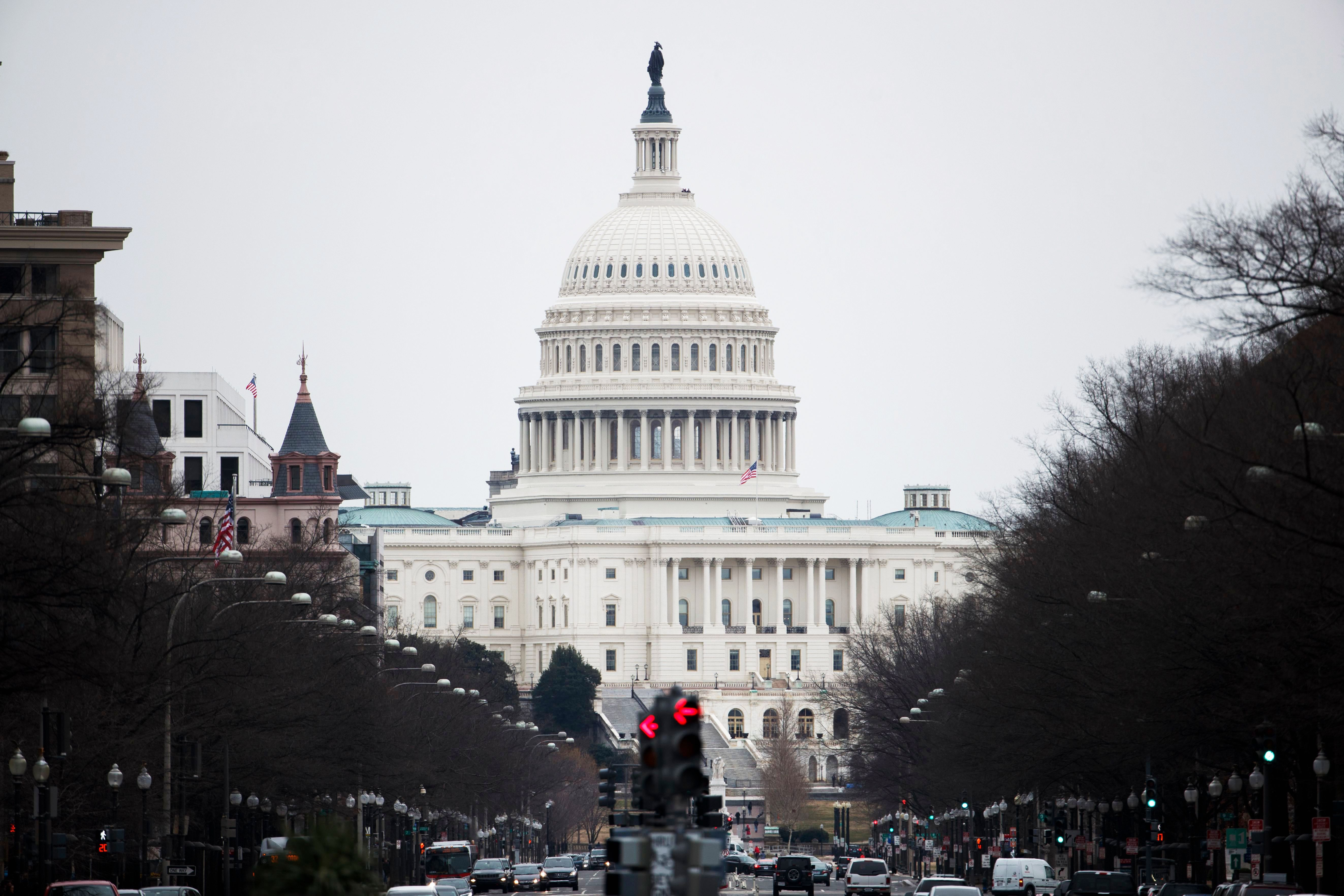 The US Capitol on Pennsylvania Avenue in Washington, DC, USA, 12 January 2019. The current partial shutdown of the US federal government, now the longest in US history, has many federal employees including Secret Service agents and officers working unpaid.The current partial shutdown of the US federal government becomes the longest in US history, Washington, USA - 12 Jan 2019