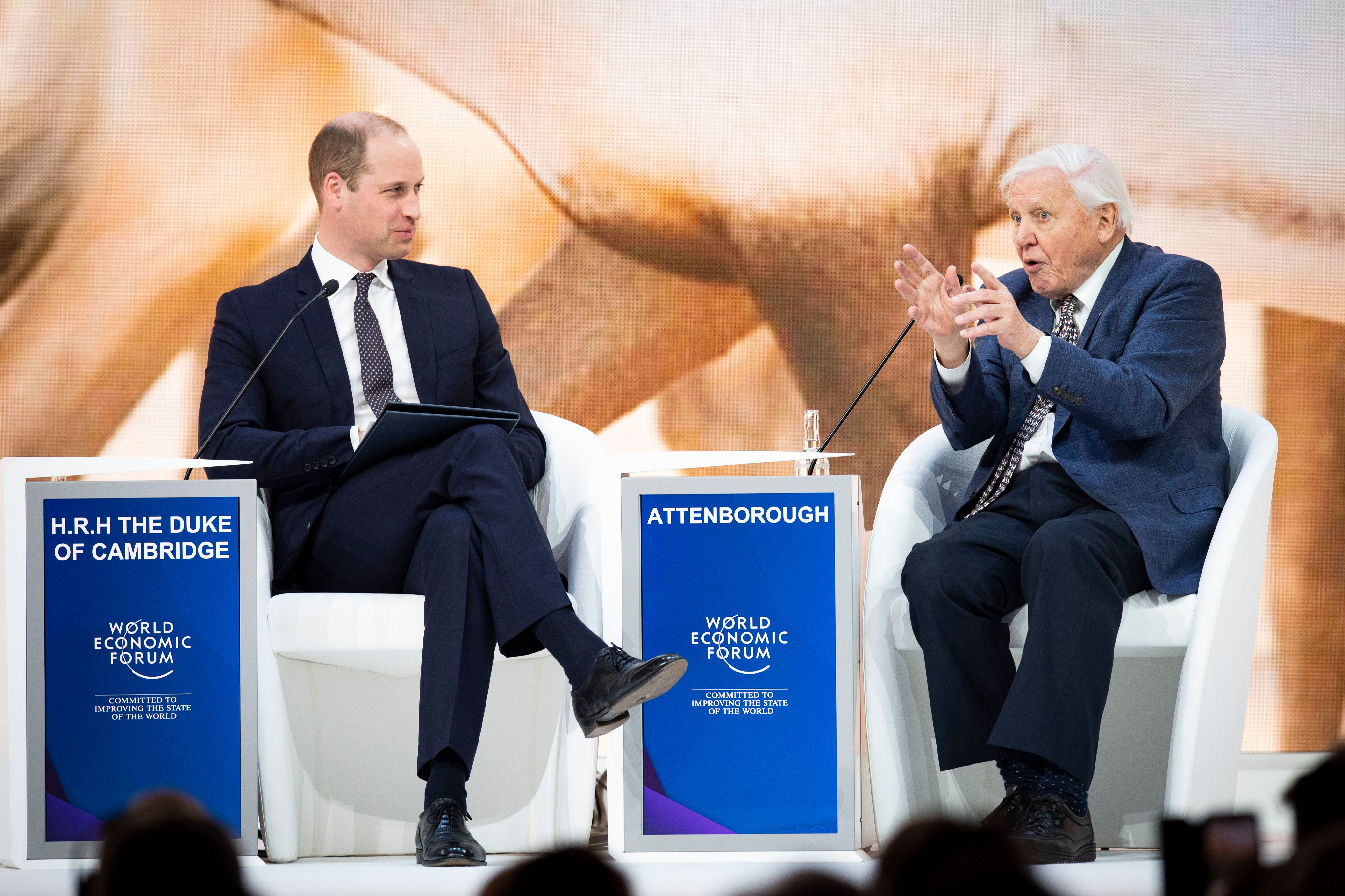 Prince William talks with British broadcaster and natural historian, Sir David Attenborough, during a session at the 49th Annual Meeting of the World Economic Forum in Davos