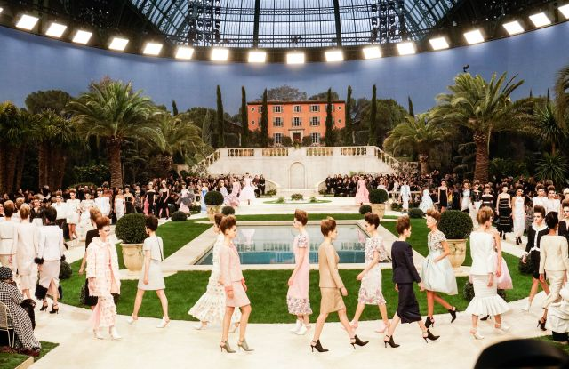 Models on the catwalk Chanel show, Runway, Spring Summer 2019, Haute Couture Fashion Week, Paris, France