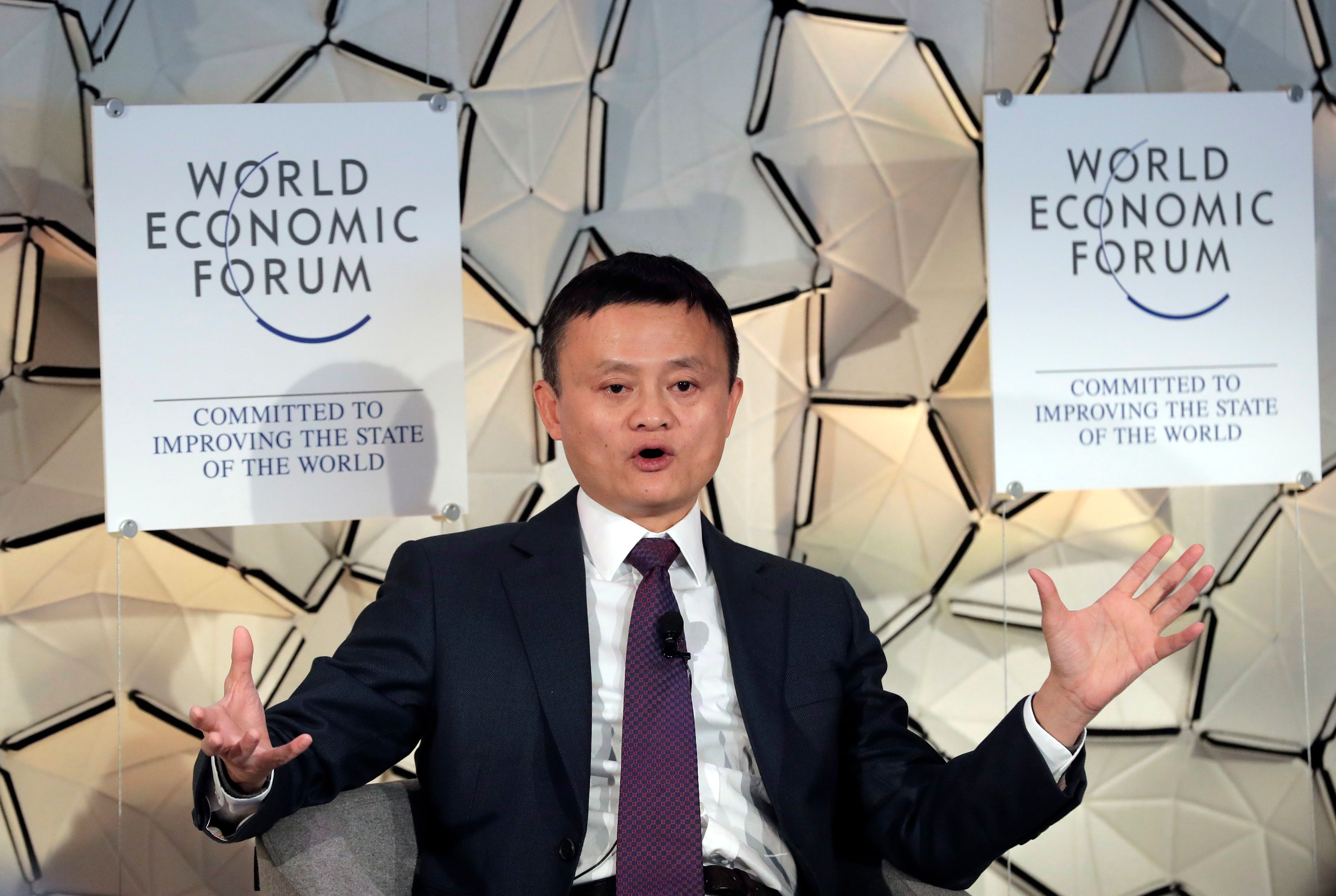 Jack Ma, CEO of Alibaba group, during a session at the annual meeting of the World Economic Forum in Davos, Switzerland