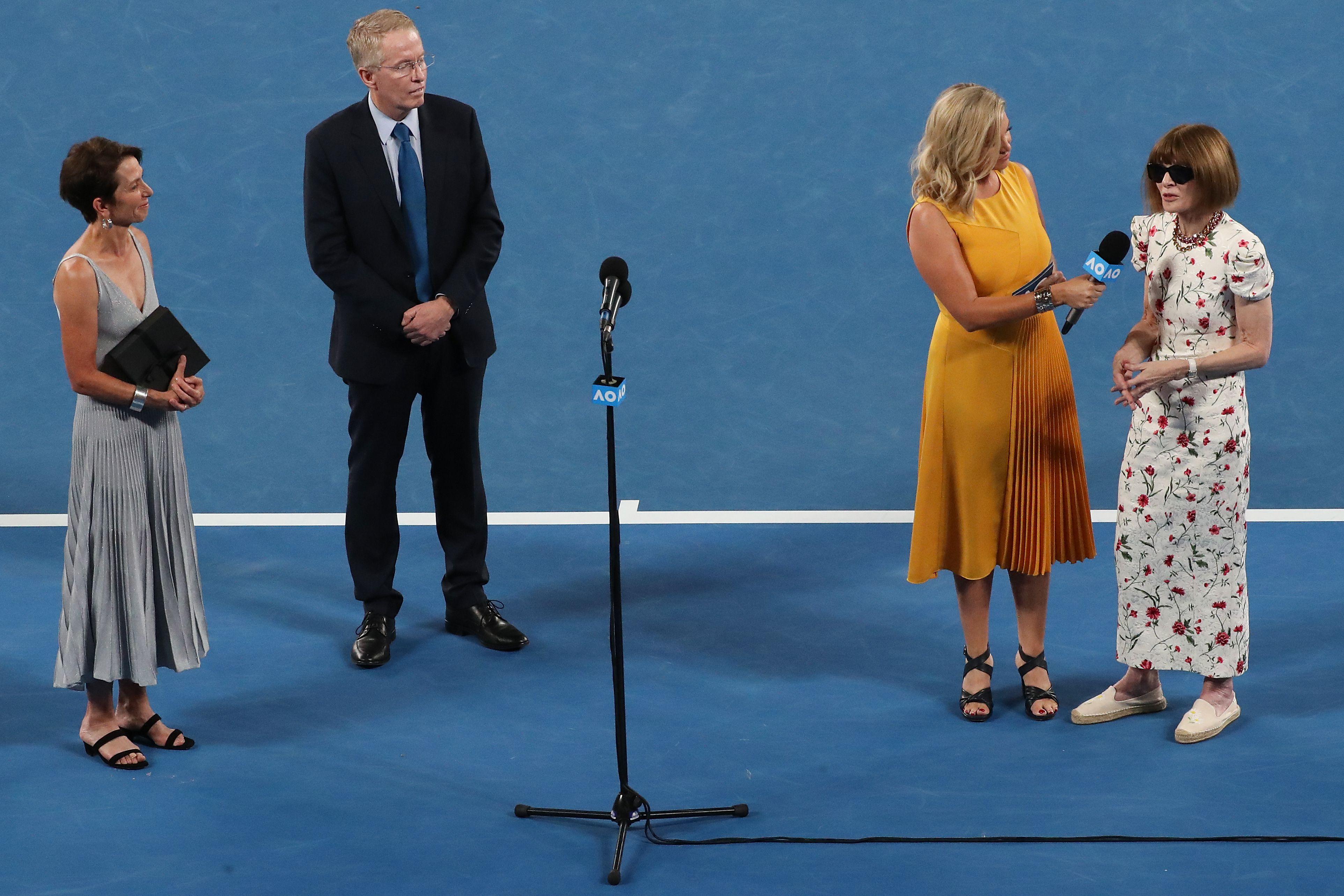 Anna Wintour on court at the Australian Open.