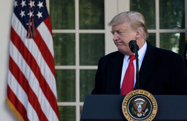 US President Donald J. Trump leaves the podium after making a statement announcing that a deal has been reached to reopen the government through Feb. 15 during an event in the Rose Garden of the White House in Washington, DC, USA, 25 January 2019. Trump announced a deal had been reached to end the ongoing partial shutdown of the federal government. The shutdown began when Congress and Trump failed to strike a deal on border security before a 22 December 2018 funding deadine.US President Donald J. Trump in the Rose Garden of the White House, Washington, USA - 25 Jan 2019