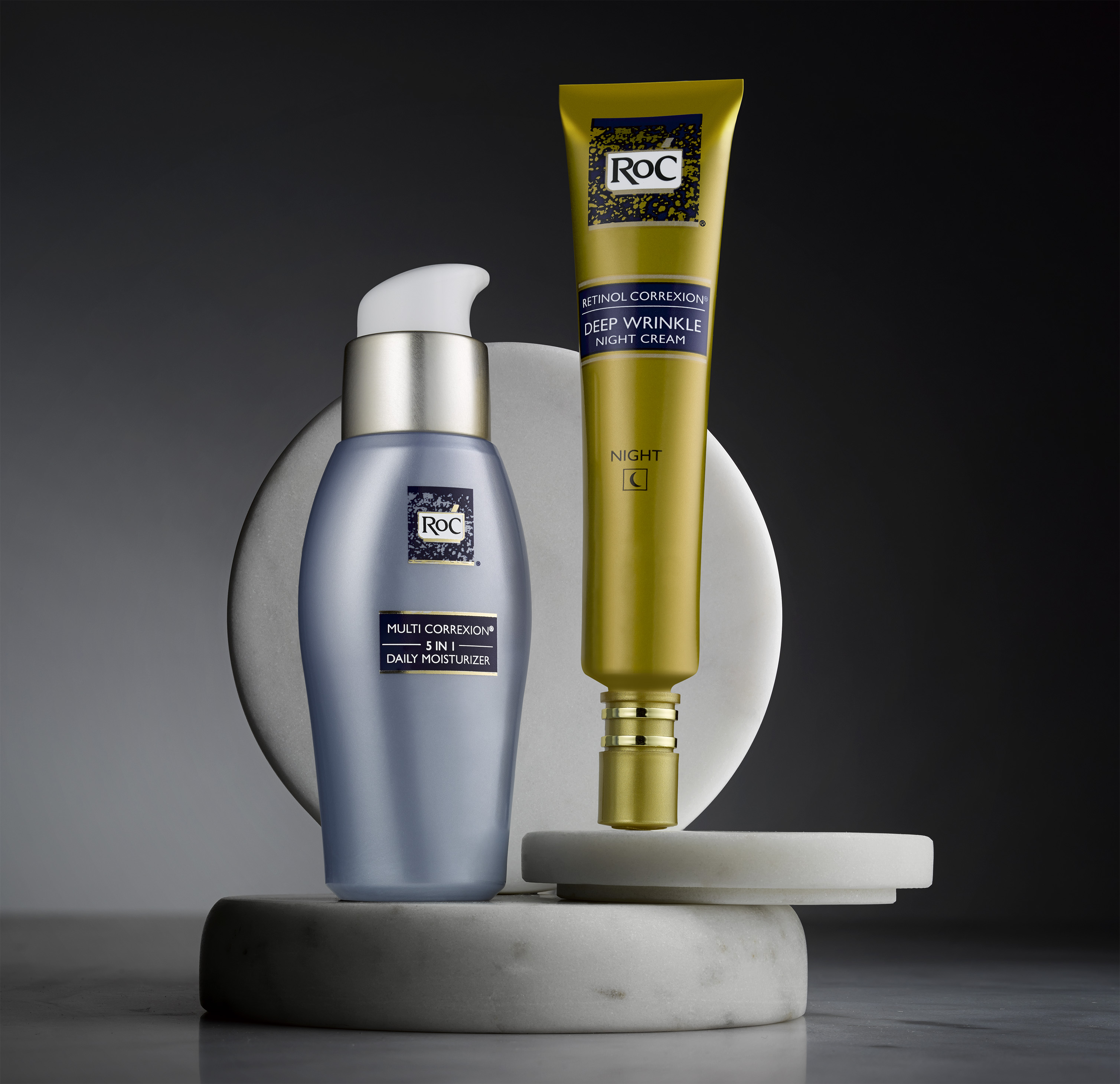 Roc makes a line of antiaging skin-care products.