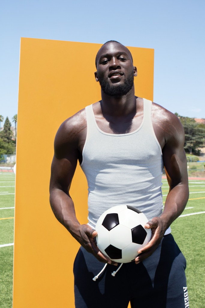 "Abercrombie & Fitch has tapped Romelu Lukaku, a soccer player for Manchester United, to be the newest face of its Fierce men's fragrance. The Belgian athlete will be featured on the first of three limited-edition bottles that will be released this year. His bottle will be available in the London, Manchester and Brussels stores exclusively beginning today, and globally and online starting May 8. In addition to portraits, the bottle launch will also include a video, both of which were shot by Jack Pierson. Lukaku's affiliation with A&F is part of the retailer's Face Your Fierce campaign, which showcases men and women sharing stories of how they find strength in the face of adversity. Lukaku speaks of his passion for the game and being authentic. ""As a professional athlete, I don't often get to discuss aspects of inner strength and, in a game fueled by passion, inner strength is just as important as physical strength,"" he said. ""I am excited to share this campaign with my fans and hope they will in turn share their stories."" The packaging has been updated for the release and is yellow with white type. ""Romelu is one of the most talented football players in the game, and his story of passion and focus is a powerful, positive message for our customer,"" said Kristin Scott, president of global grands at Abercrombie & Fitch Co. ""He is bringing our iconic fragrance to a new generation and we're excited to showcase his story on a limited-edition bottle."" — Jean Palmieri"