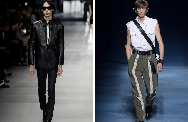 (From left) A men's look from Celine's spring 2019 collection and a men's look from Givenchy's spring 2019 collection.