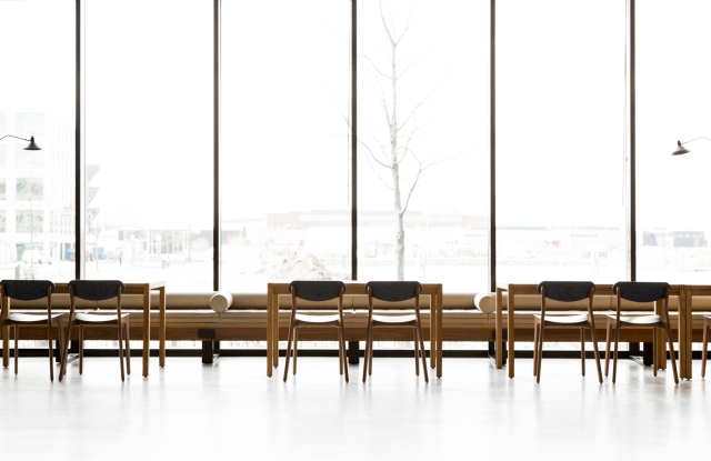 Planq designed chairs made from recycled denim jeans for Tommy Hilfiger's M5 building in Amsterdam, which opened last year.
