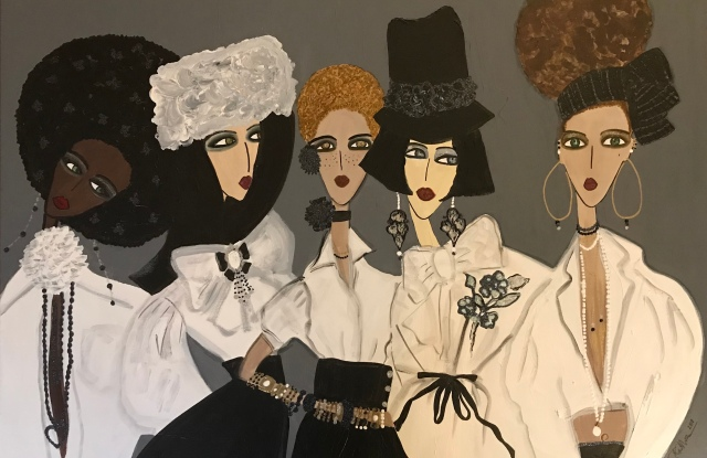 """A painting from by Rebecca Moses' latest show """"White Shirts."""""""
