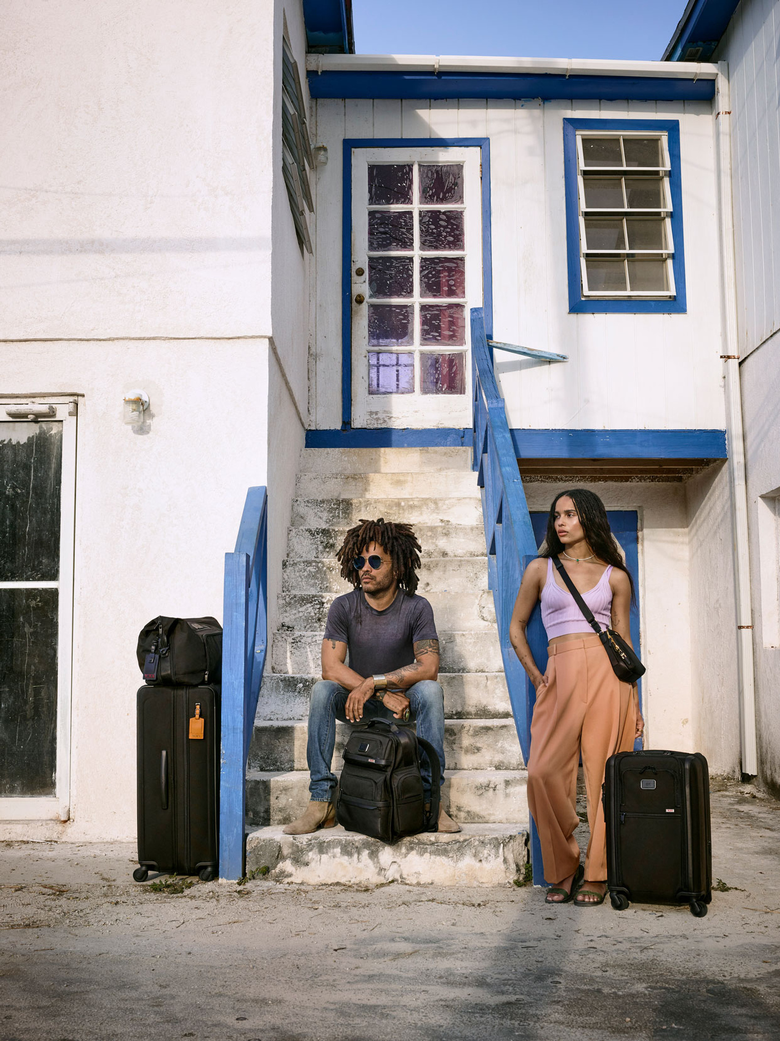 Lenny and Zoe Kravitz featured in Tumi campaign.