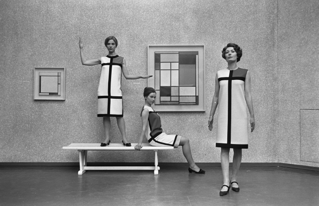 """Three """"Hommage à Piet Mondrian"""" cocktail dresses from the Yves Saint Laurent fall 1965 collection"""