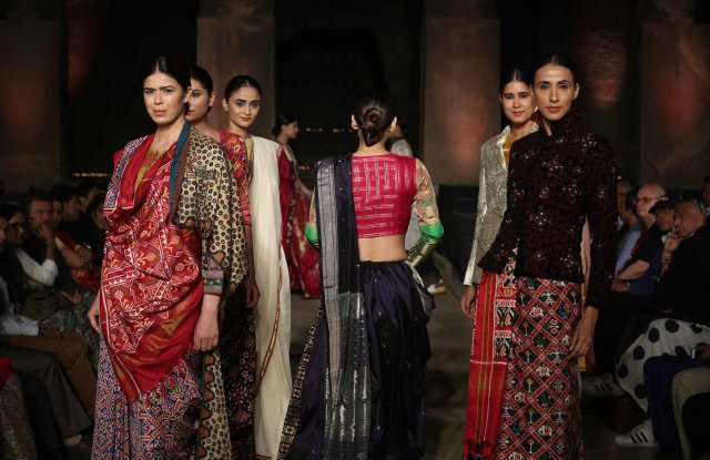 Models at the Indian Textile Ministry's fashion show at the Elephanta caves.