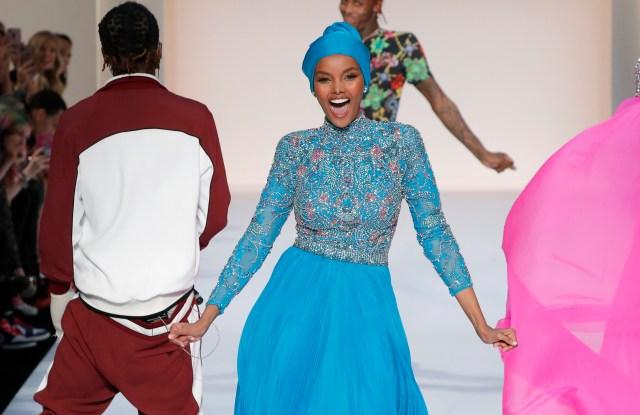 Halima Aden walks the runway at the Sherri Hill fashion show.