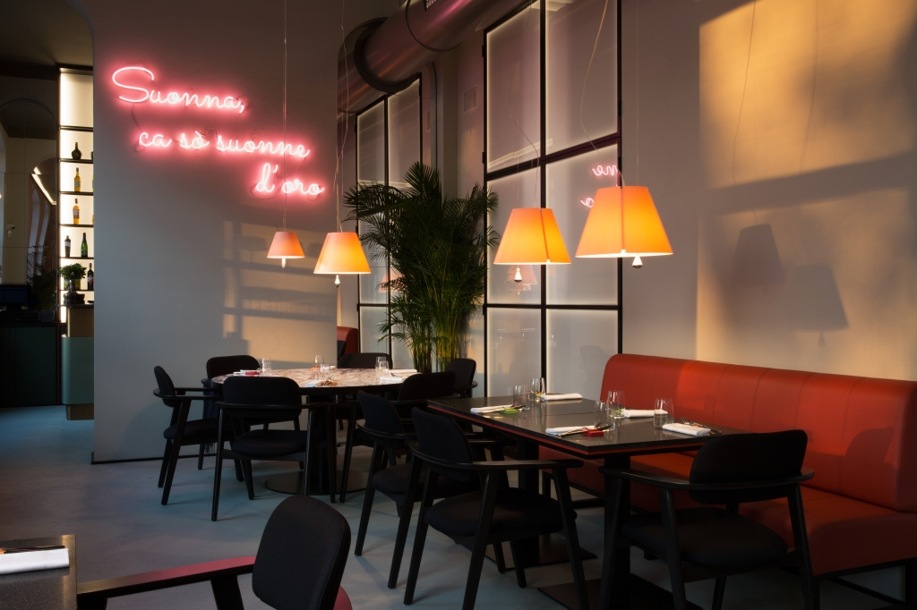The interiors of Sine restaurant in Milan.