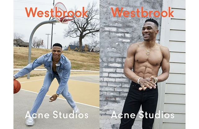 Russell Westbrook in the Acne Studios spring campaign.