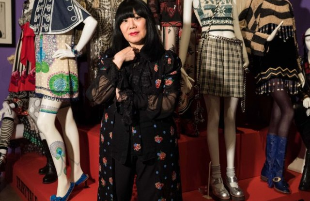 Anna Sui at her exhibit at the Fashion and Textile Museum in London.