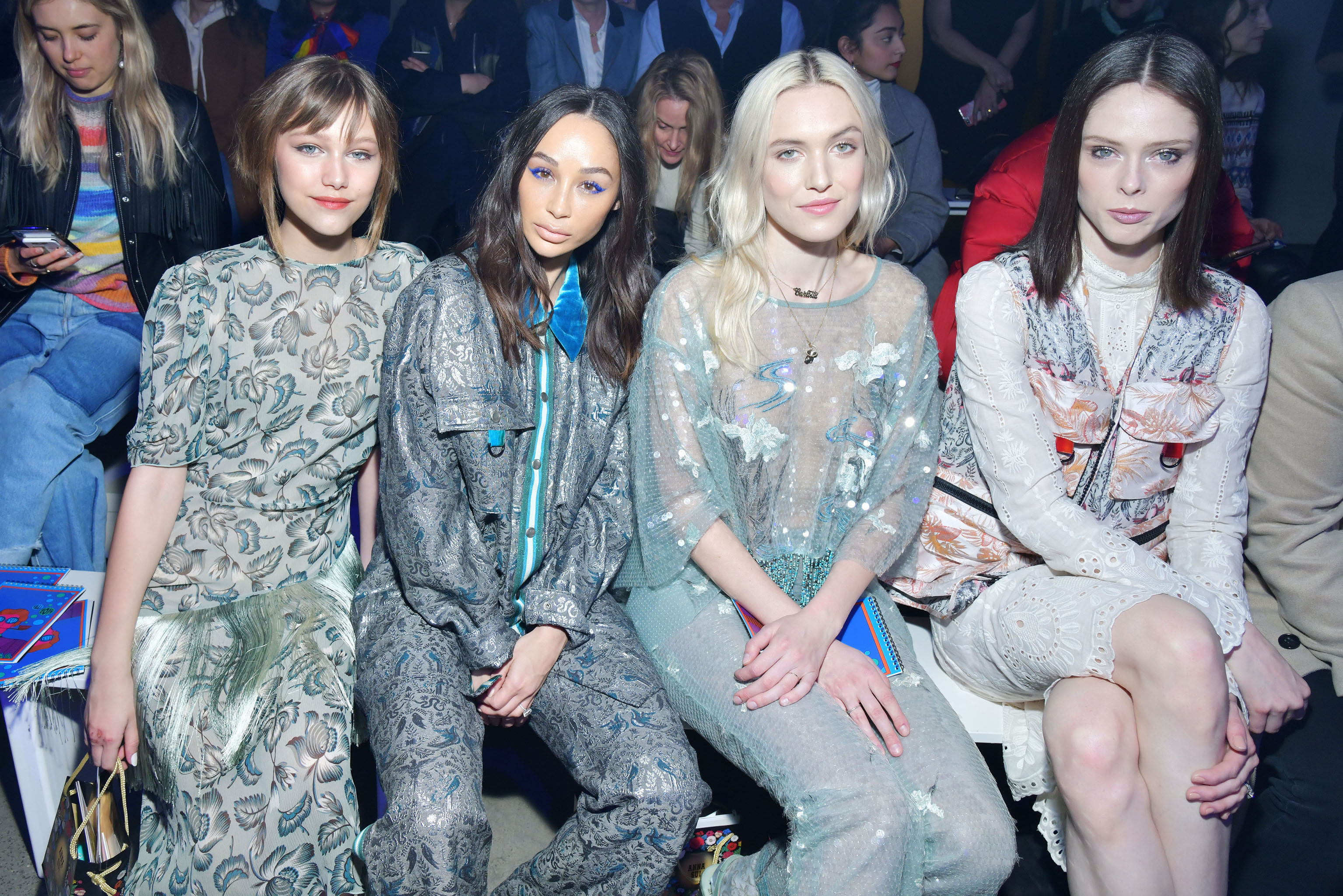 Grace VanderWaal, Cara Santana, Carlotta Kohl and Coca Rocha in the front row at Anna Sui RTW Fall 2019