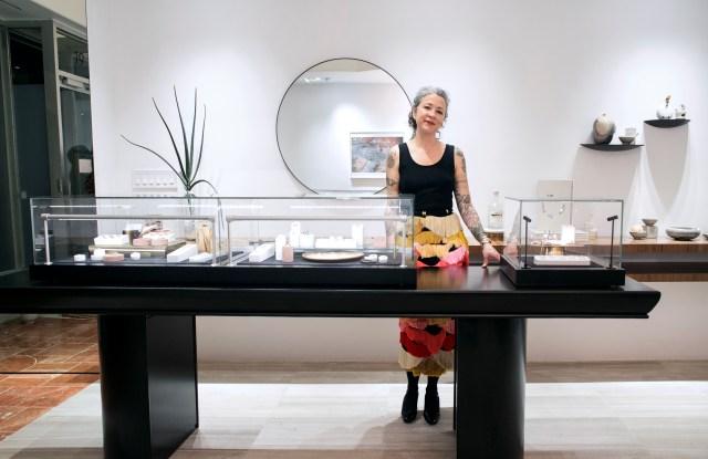 Jewelry designer Anna Sheffield in her new retail store