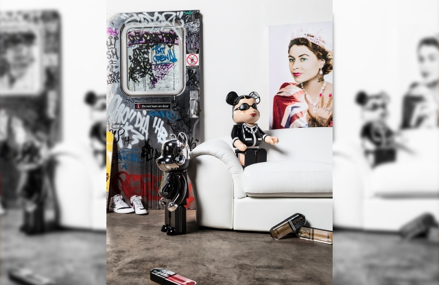 """Left to right, """"MTA Subway Door,"""" by various artists, """"BE@RBRICK X Chanel,"""" and """"Her Majesty,"""" by JJ Adams, from Heritage Auctions."""