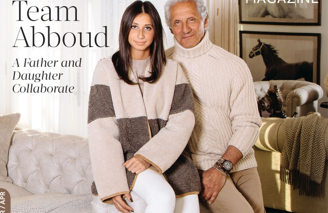 Joseph Abboud and his daughter Ari on the cover of Bedford Magazine.
