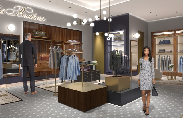A rendering of the new Brooks Brothers store at Hudson Yards.