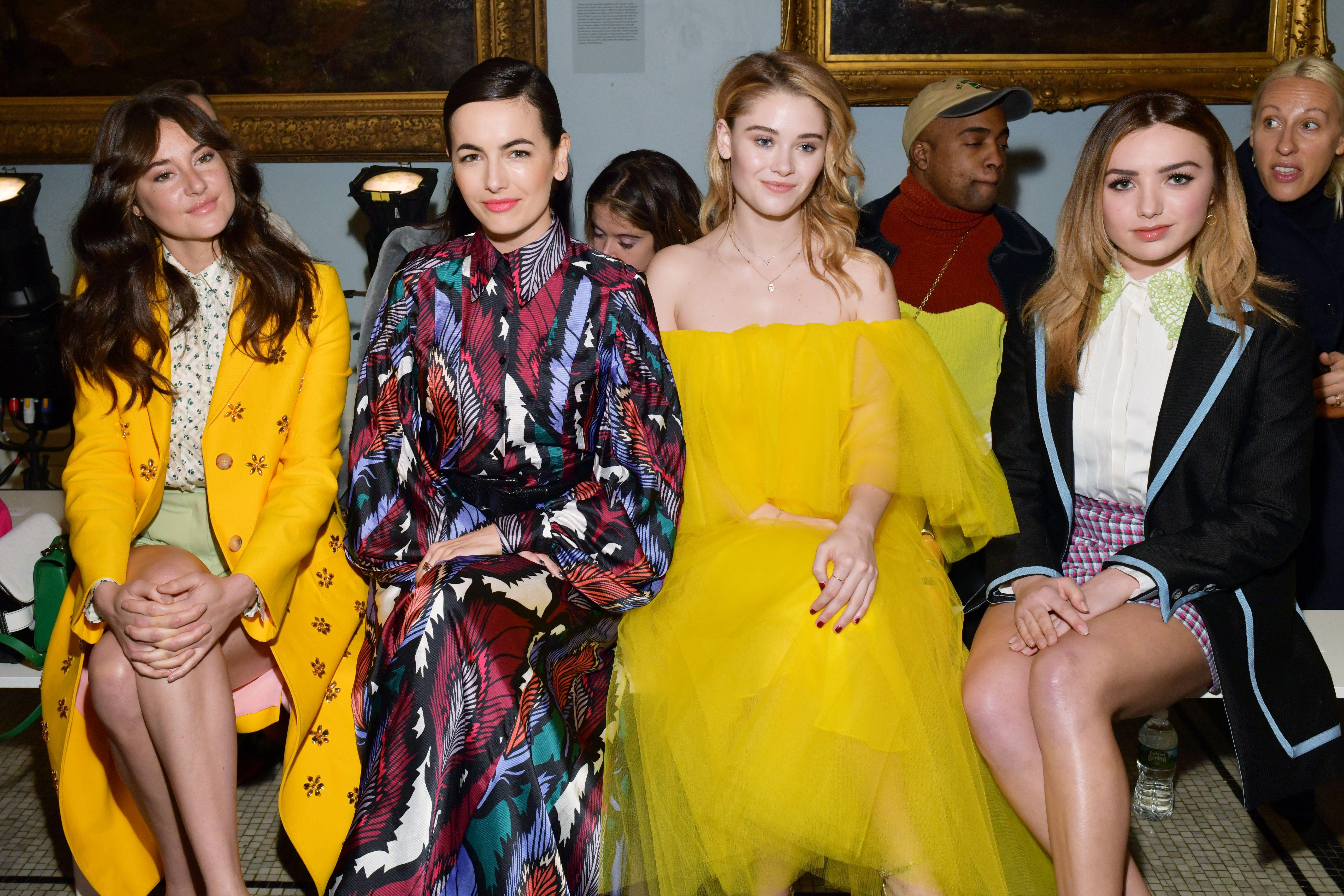 Shailene Woodley, Camilla Belle, Virginia Gardener and Peyton ListCarolina Herrera show, Front Row, Fall Winter 2019, New York Fashion Week, USA - 11 Feb 2019
