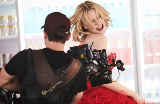 Cate Blanchett on set.