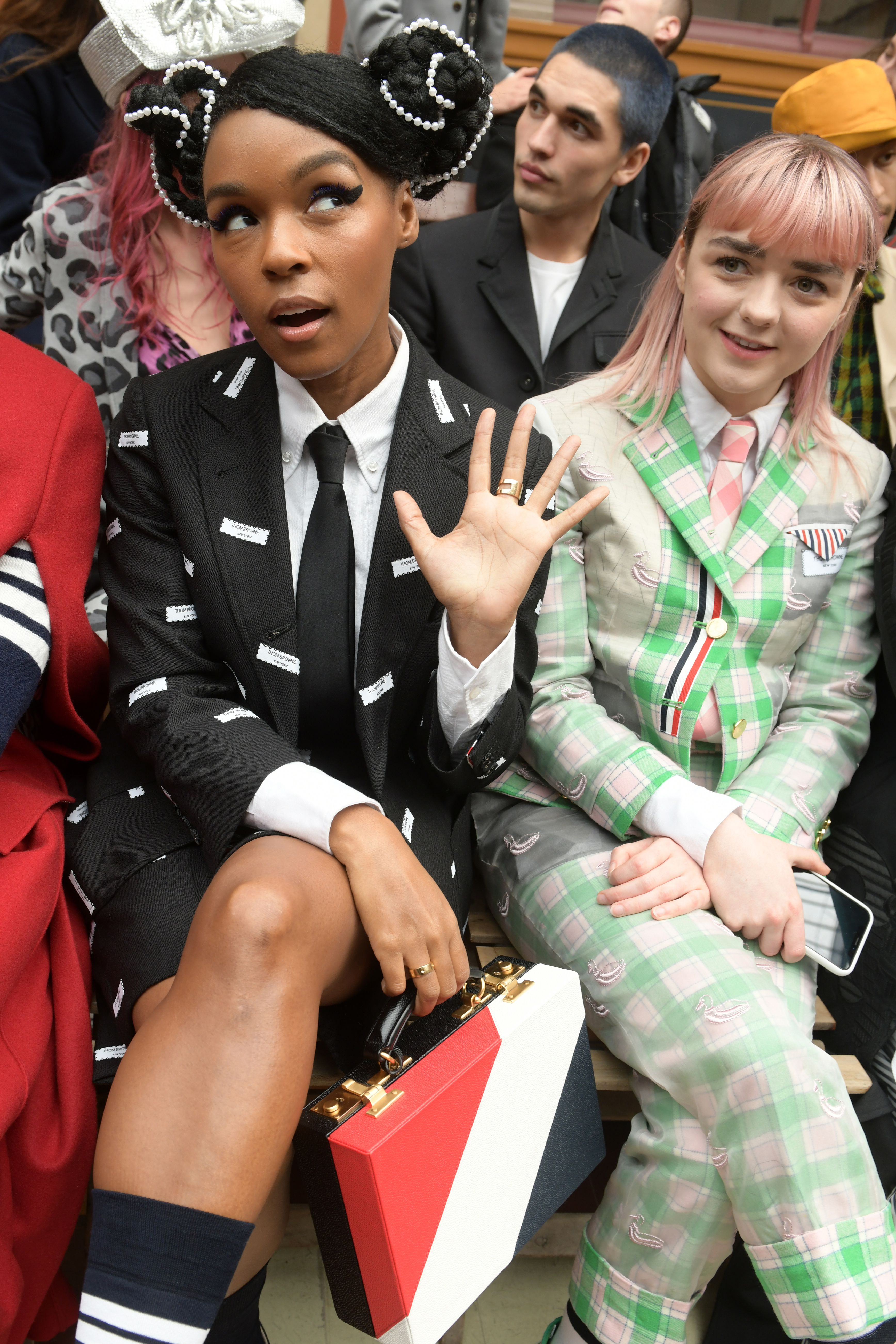 Janelle Monae and Maisie Williams in the front row at Thom Browne