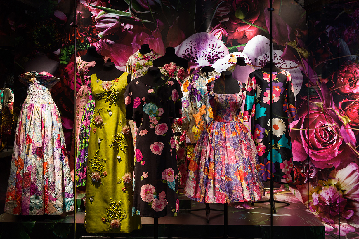 Looks from Dries van Noten on display at the Musée des Arts Décoratifs.
