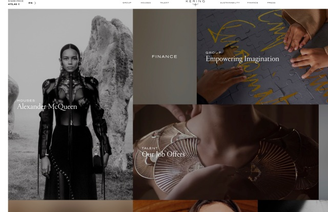 Kering's redesigned web page.