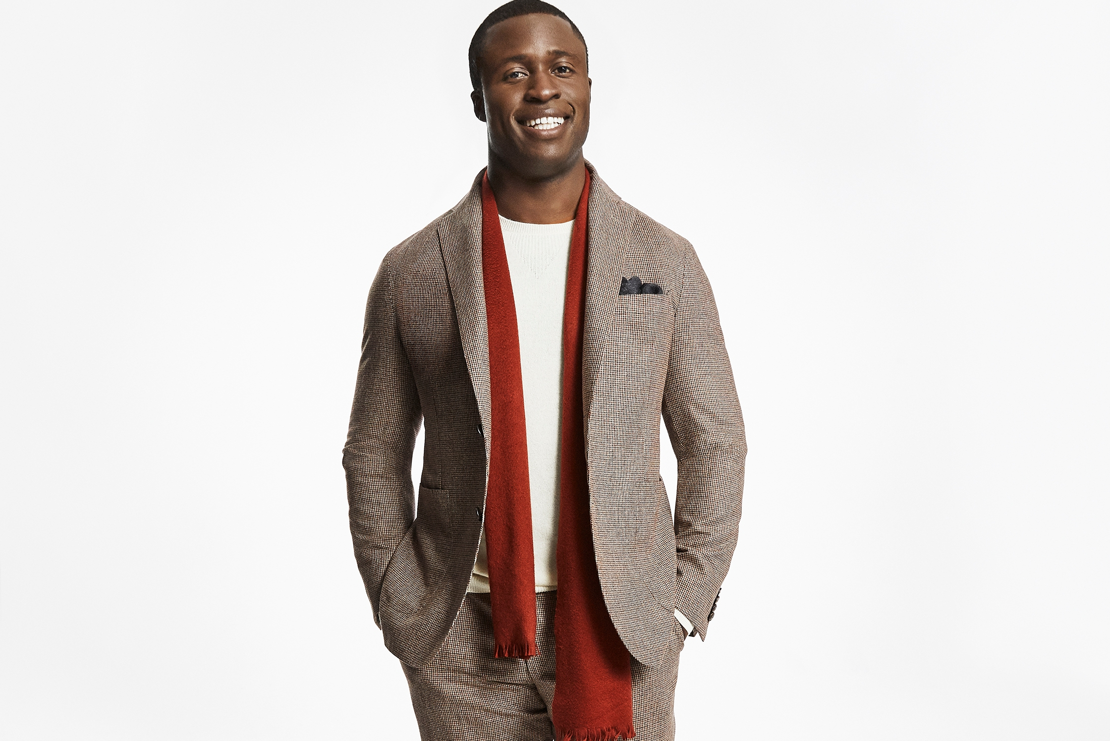 Jesse Iwuji in a piece from the Hickey Freeman 120th anniversary collection.