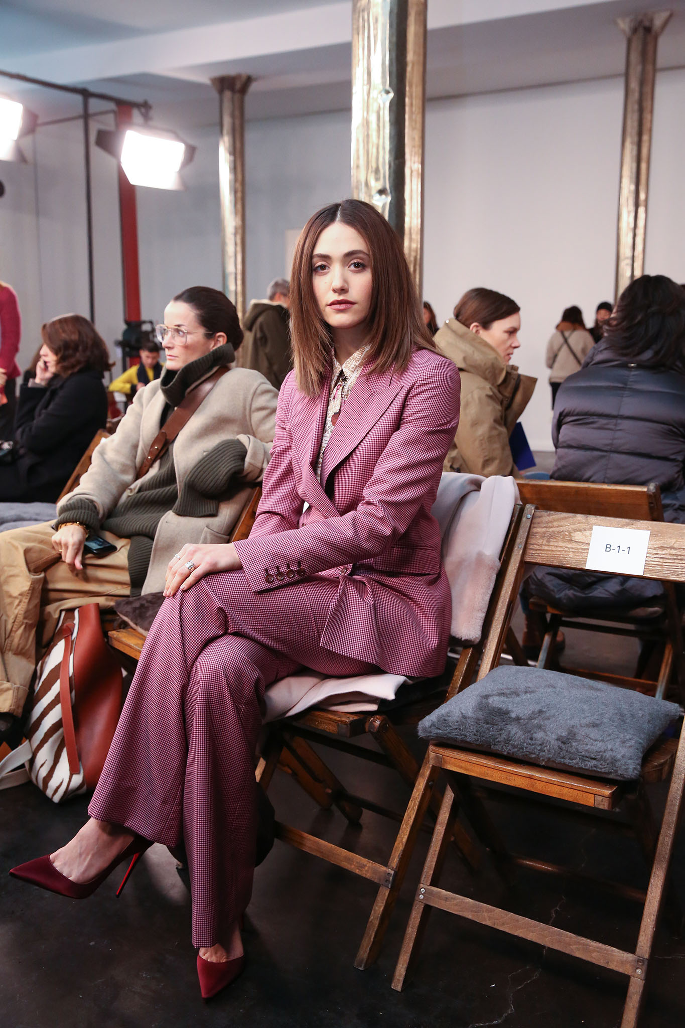 Emmy Rossum in the front row at Gabriela Hearst RTW Fall 2019