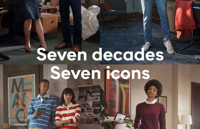 "Gant's 70th anniversary campaign is called ""Seven Decades Seven Icons."""