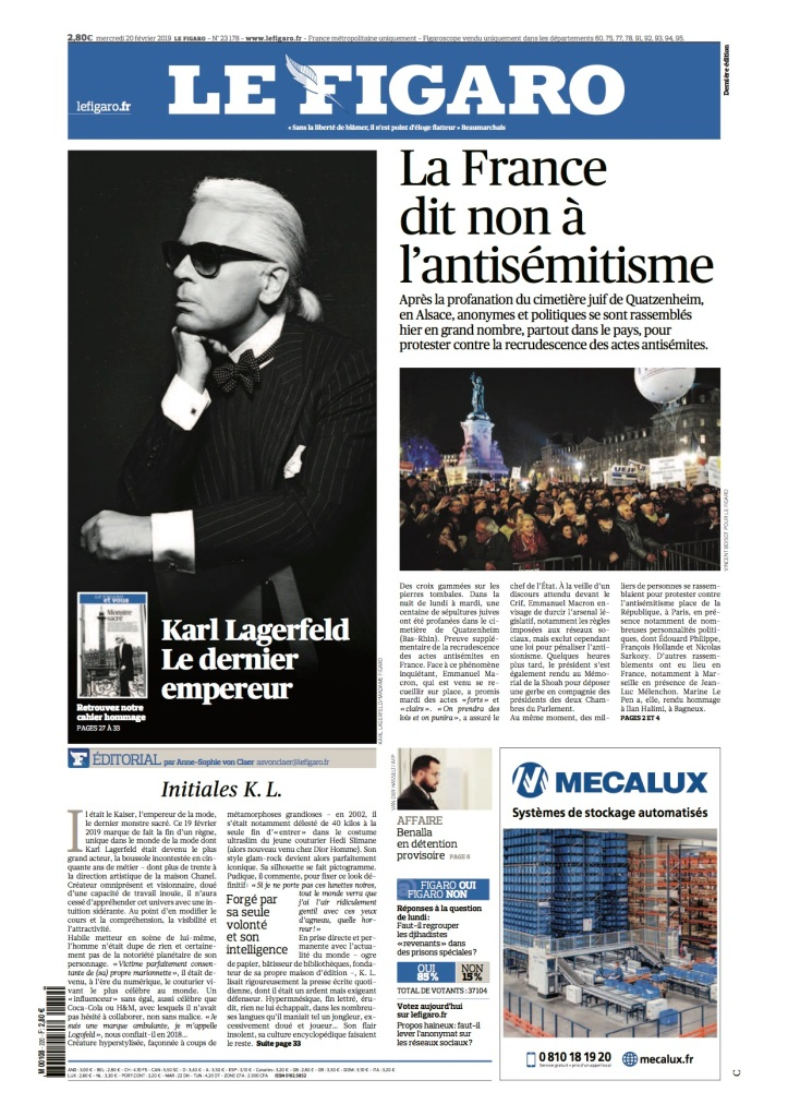 The cover of today's Le Figaro.