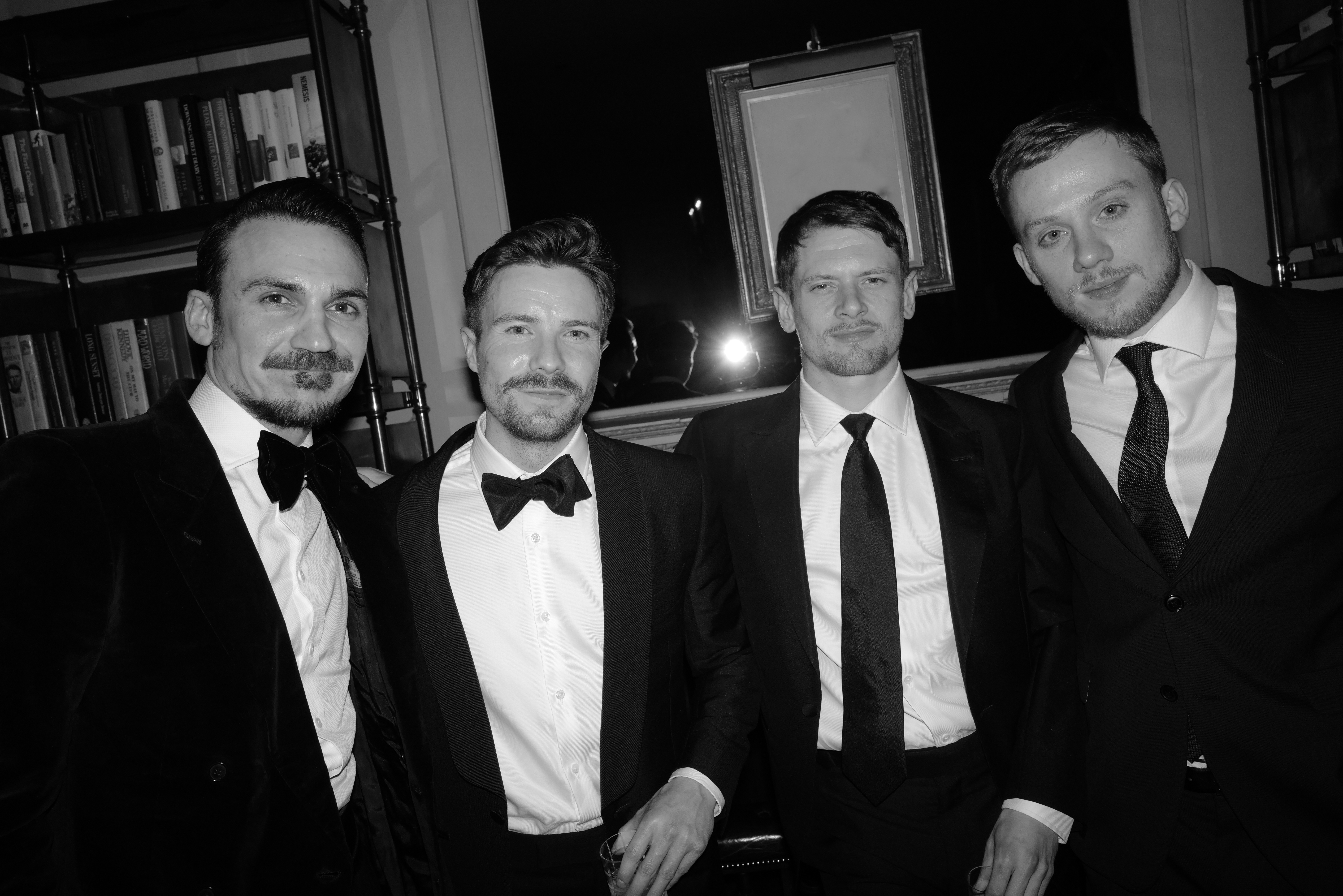 Henry Lloyd Hughes, Joe Dempsie, Jack O'Connell and Joe Cole at the Dunhill pre-BAFTA party