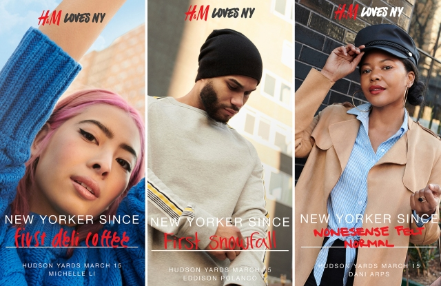 "Images from the ""H&M Loves NY"" campaign."